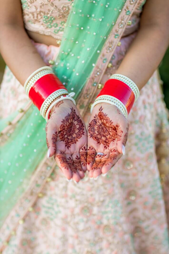 Traditionally in Sikh weddings, the mehndi is applied to the hands of the bride