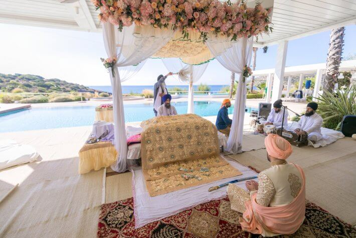 Flower decorated Mandap for Anand Karaj Sikh wedding in Athens Riviera