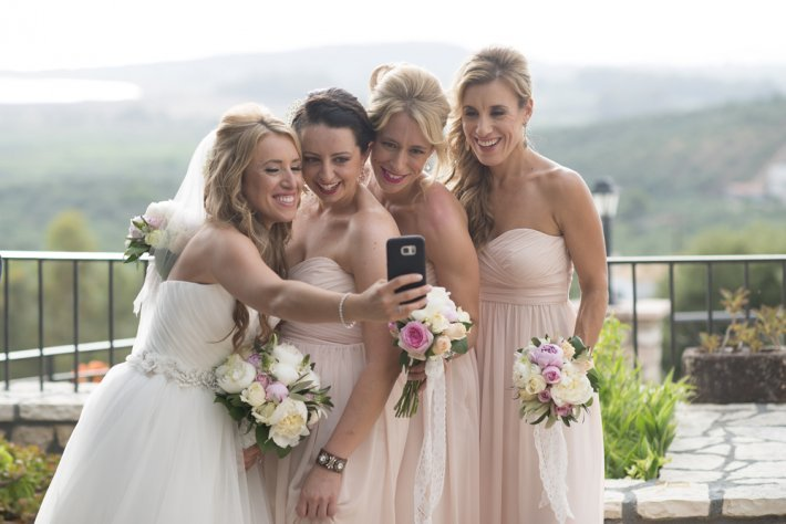 Bride and Bridesmaids photo in Costa Navarino wedding
