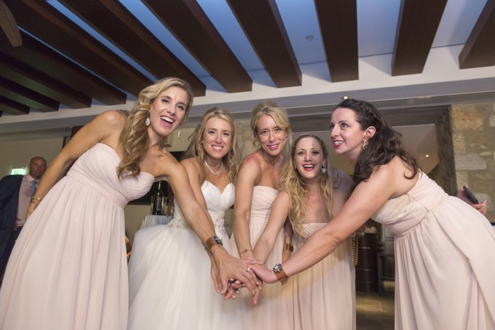 Bride and Bridesmaids in Costa Navarino wedding reception