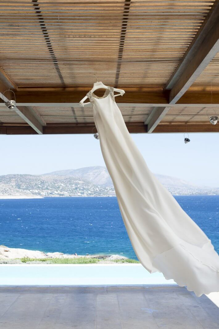 Bridal dress in Private House venue, Island art and taste wedding Athens Riviera