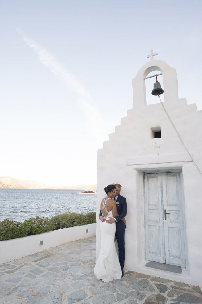 Bride and Groom in a chapel island art and taste wedding venue