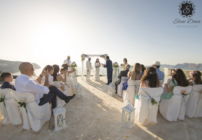 Lebanese wedding santorini Greece ceremony view
