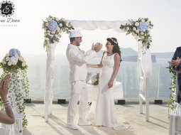 Santorini wedding ceremony flowers cavo ventus