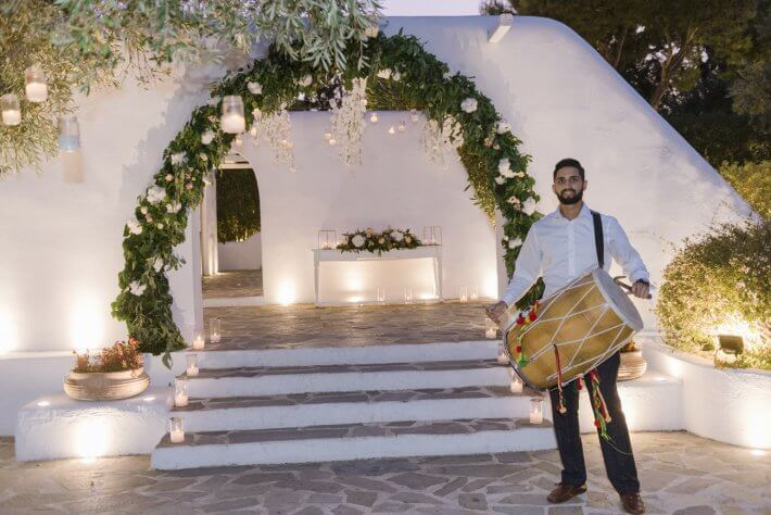 Dhol player in Indian wedding in Athens Greece