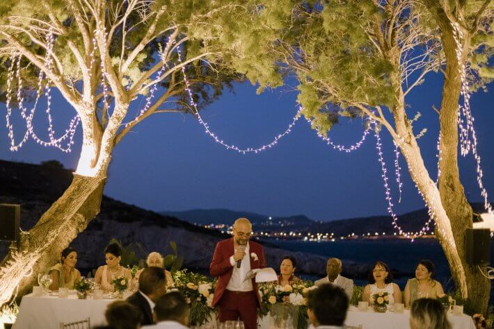 Family table and Speeches in Athens Riviera wedding Greece