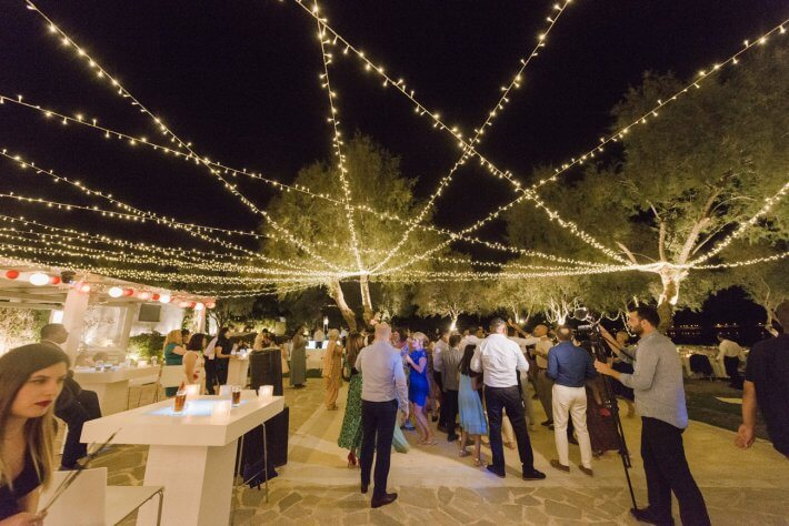 Wedding reception with fairy lights in multicultural wedding Athens greece