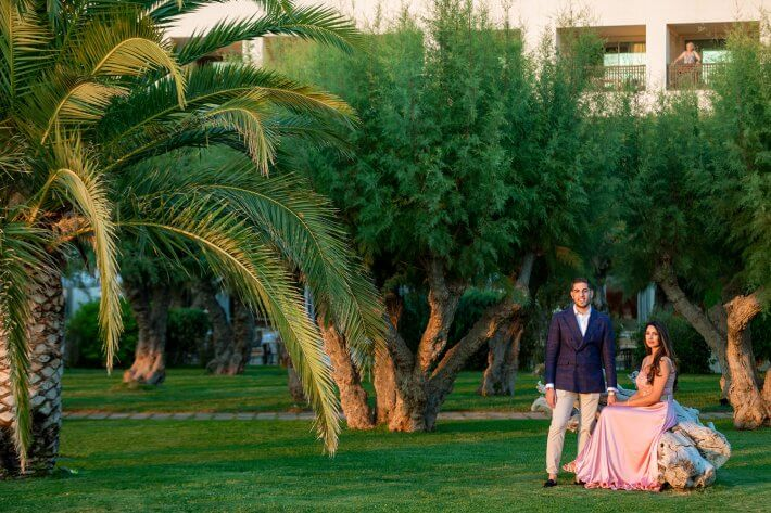 Bride and Groom photos in trees and greenery, Athens Riviera, Greece