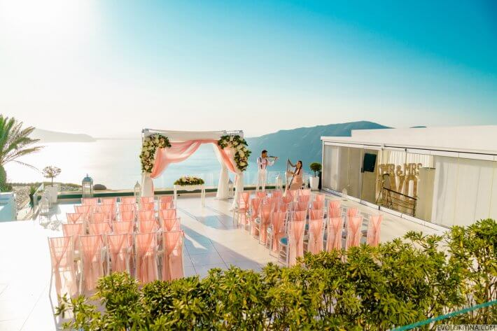 Wedding ceremony Santorini wedding venue Le Ciel, Greece