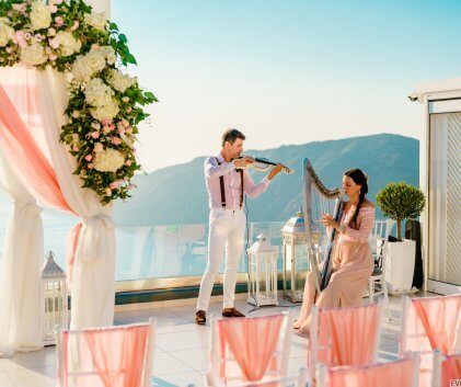 "Live musicians in Santorini wedding. Wedding planner ""Wedding in Greece"""