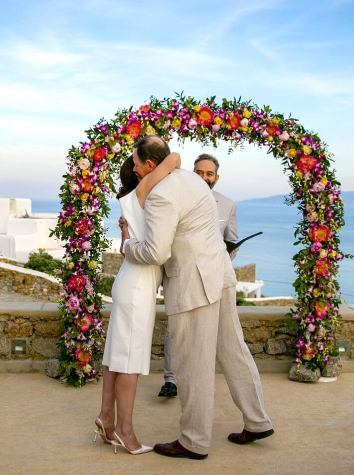 Flower arch for wedding ceremony in Mykonos, Greece