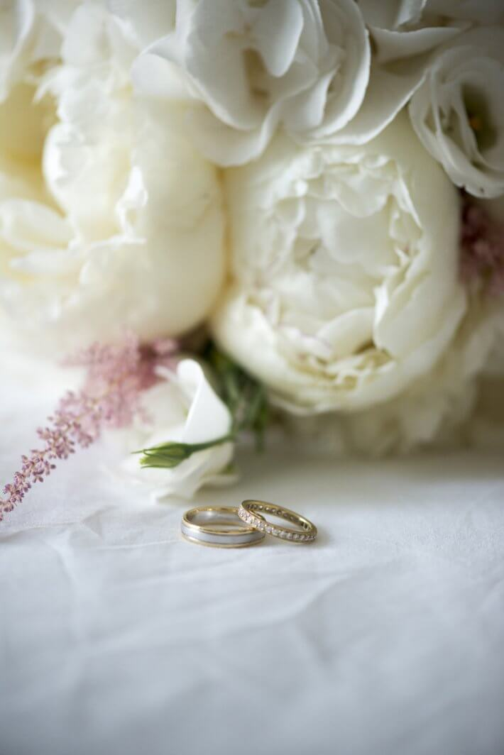 Flower details and wedding rings in Mykonos Greece