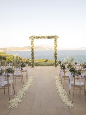 Wedding ceremony setup for destination wedding in Athens, Greece