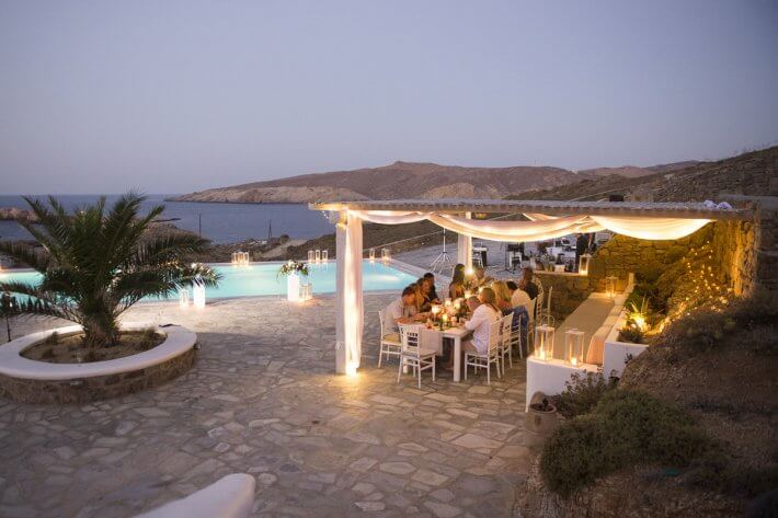 "Wedding dinner in Mykonos villa, Greece. Wedding planning by ""Wedding in Greece""."
