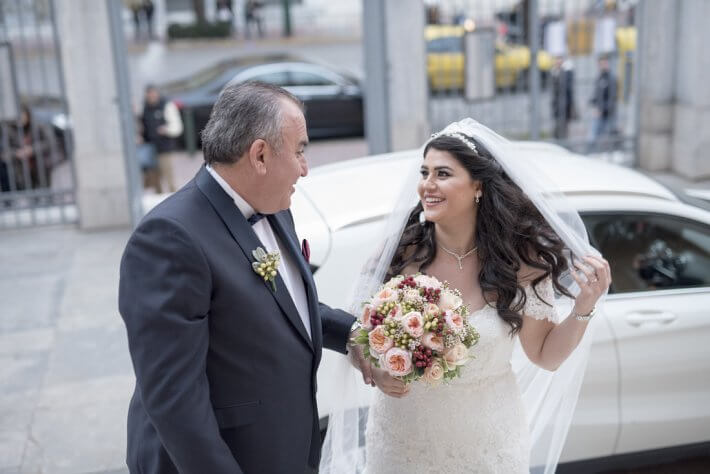 Bride and father at church wedding in Athens Greece