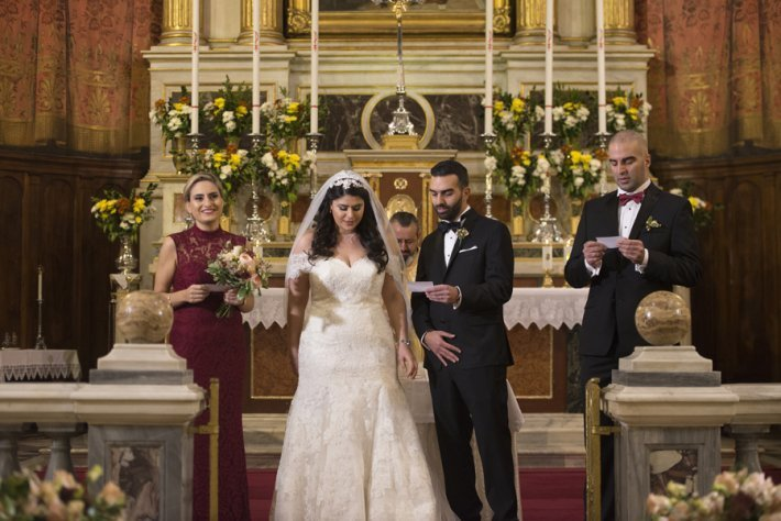 Catholic wedding ceremony in Greece
