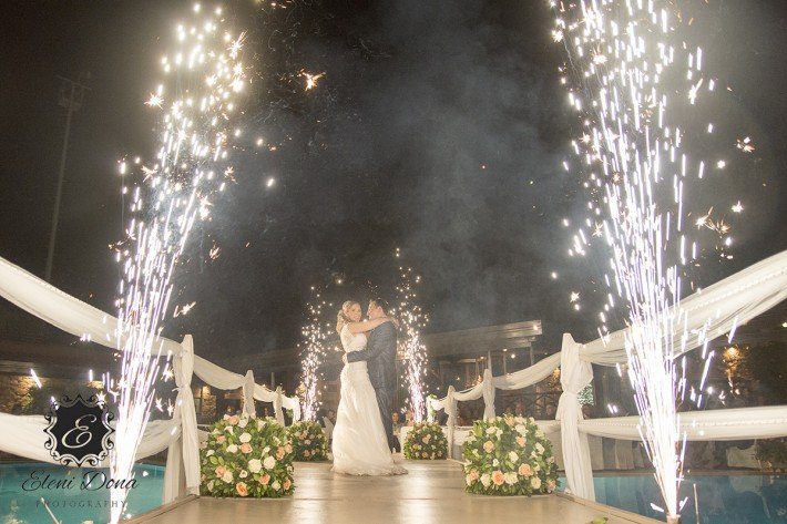 Wedding fireworks in greece