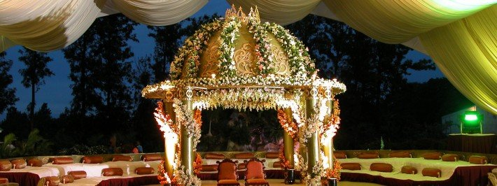 Hindu wedding mandap ceremony in Greece