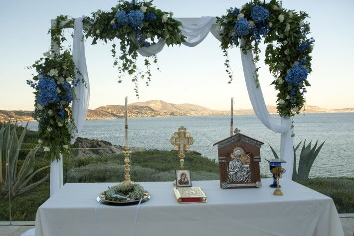 wedding arch in destination lebanese wedding in athens riviera island art and taste venue