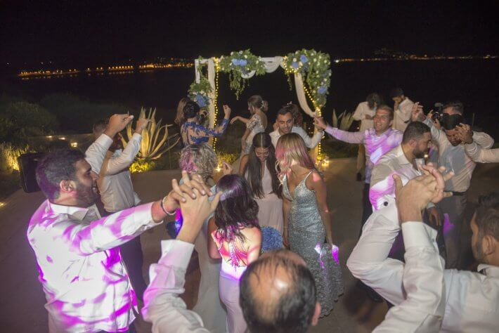 Dance area and wedding arch in lebanese wedding in athens greece