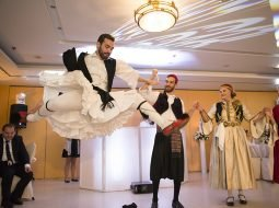 Greek dancing show at lebanese wedding reception greece
