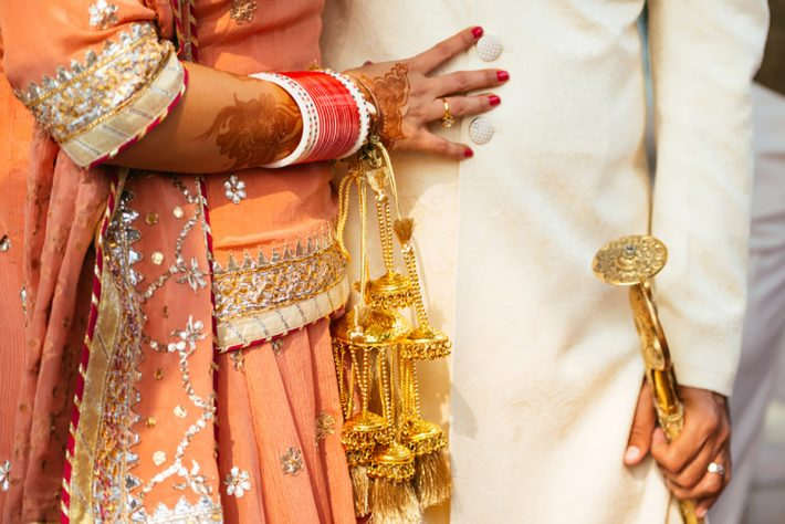 Groom and Bride at their sikh wedding in Greece