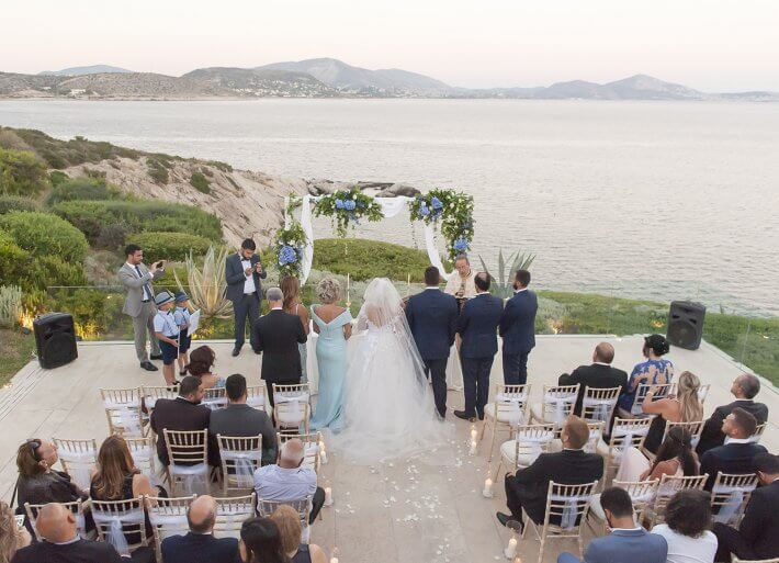 destination wedding ceremony in island private house wedding venue in athens varkiza greece