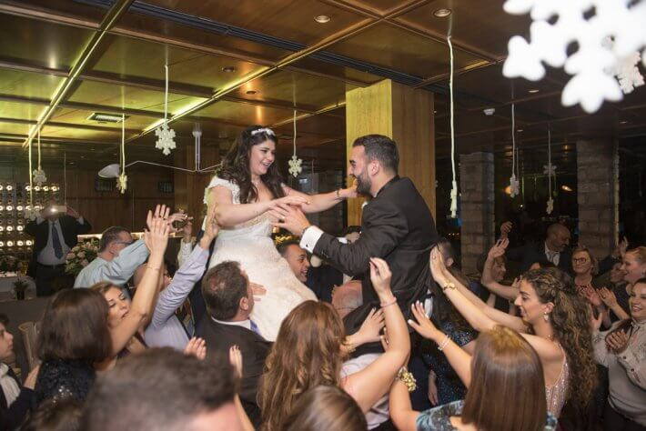 Lebanese dancing in destination wedding in Athens Greece