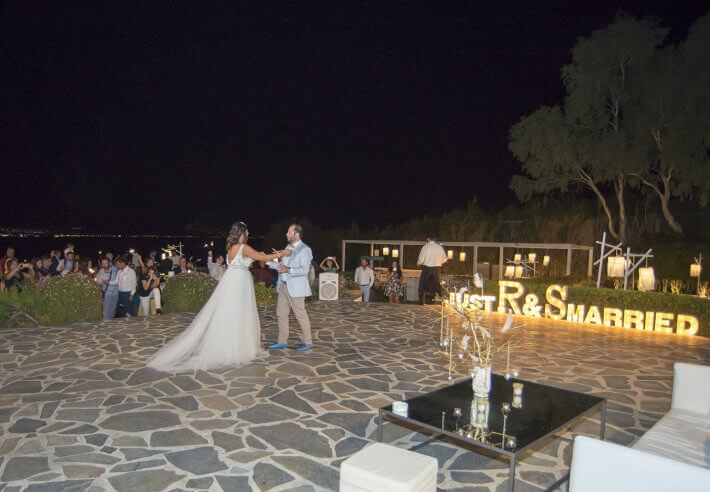 First dance in destination wedding in Athenian Riviera, Greece