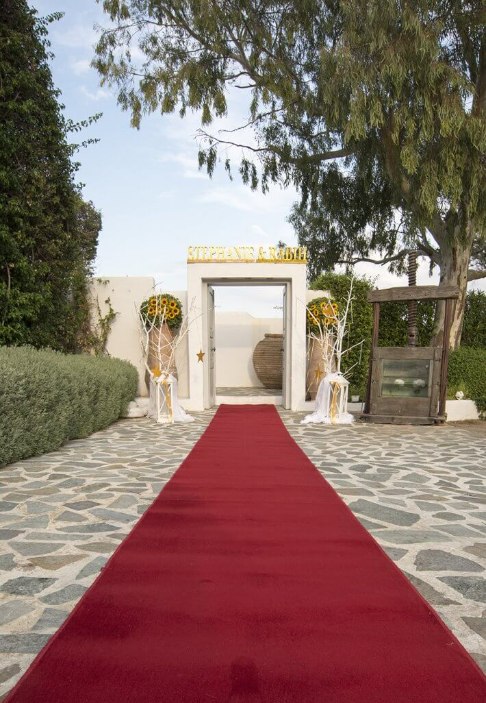 Wedding venue entrance in Island art and taste varkiza athens greece