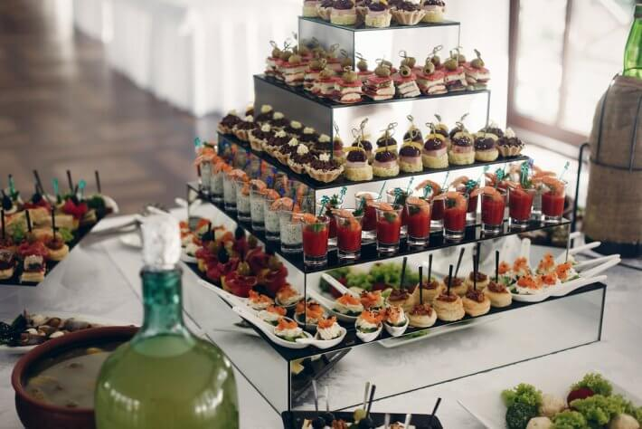 Delicious wedding reception buffet