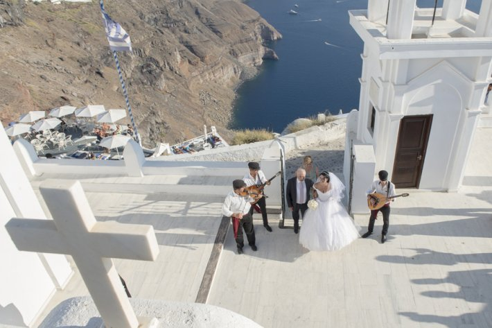Religious wedding in santorini Anastasi outdoor area