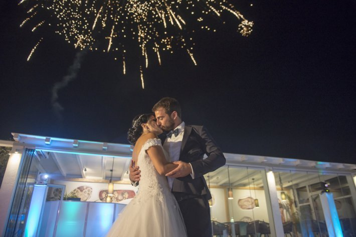Bride and Groom first dance fireworks santorini gem