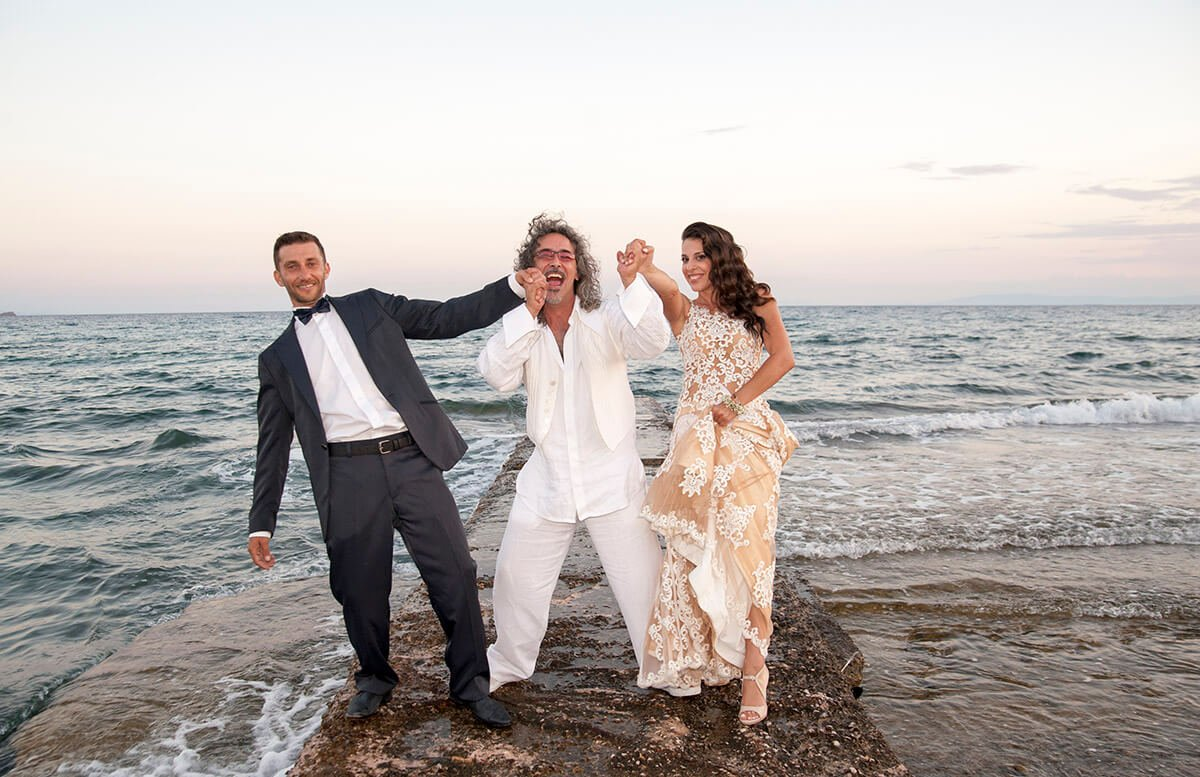 Beach Wedding In Greece And Their Happy Celebrant